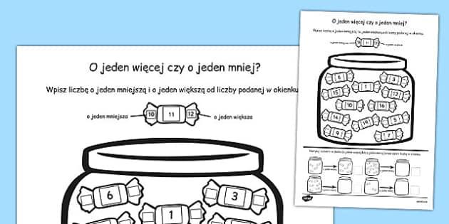 Zadania matematyczne O jeden więcej, o jeden mniej po polsku