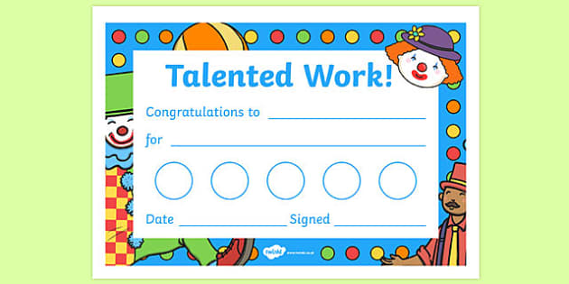 Circus Themed Sticker Reward Certificates - circus themed, sticker reward certificates, certificates, circus themed certificates, circus themed reward