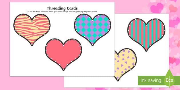 Valentine's Day Heart Threading Cards - Valentine's Day,  Feb 14th, love, cupid, hearts, valentine, 14th Feb