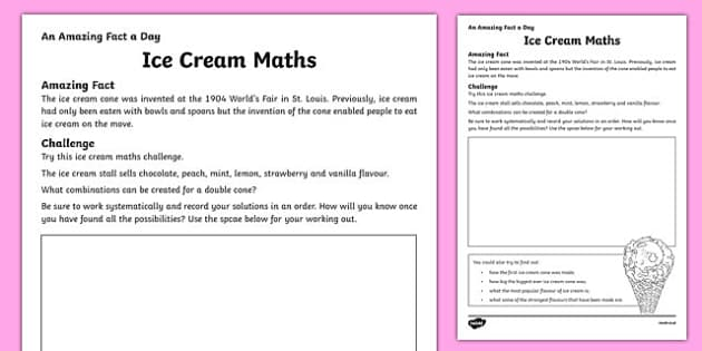 Ice Cream Maths Activity Sheet, worksheet