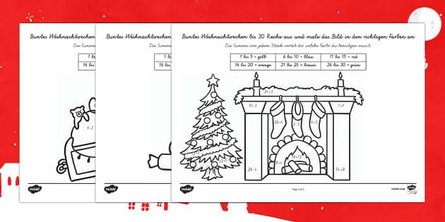 Weihnachtsrechnen Plus und Minus bis 30 Arbeitsblätter-German