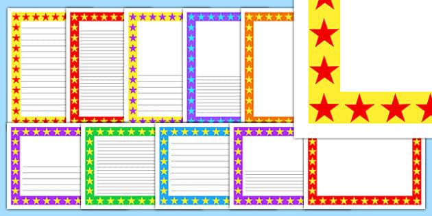 Editable Multicolour Star Page Borders Pack - borders, templates