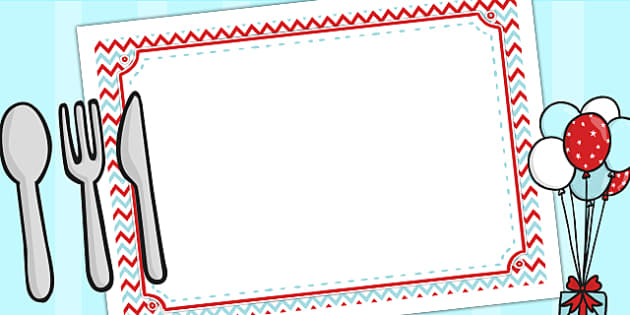 Zig Zag Birthday Party Place Mats Red And Blue - birthday, party