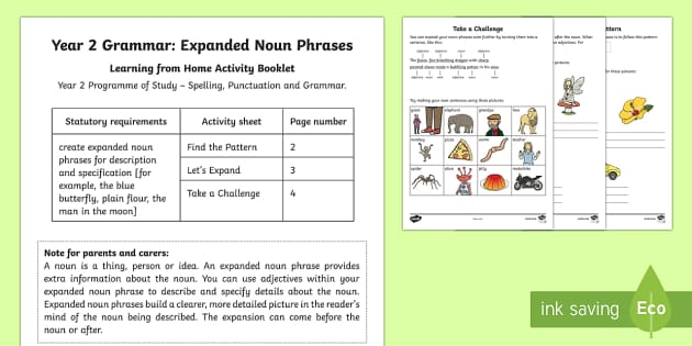 Year 2 Grammar: Expanded Noun Phrases Activity Booklet - Year 2, expanded noun phrases, grammar, sentences, SPaG, nouns, prepositional phrases, adverbial phr