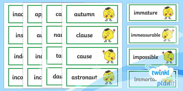 PlanIt English Additional Resources Year 4 Term 1A Word Cards - Spellings Year 4, spelling, GPS, SPaG, Y4, word cards, flashcards, term 1A, 1A
