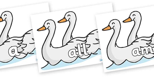 Foundation Stage 2 Keywords on Swans - FS2, CLL, keywords, Communication language and literacy,  Display, Key words, high frequency words, foundation stage literacy, DfES Letters and Sounds, Letters and Sounds, spelling