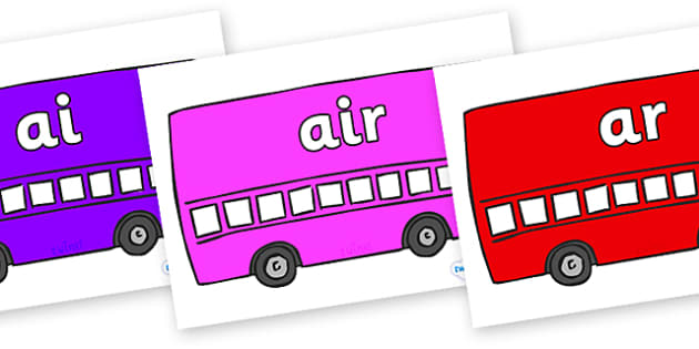 Phase 3 Phonemes on Buses - Phonemes, phoneme, Phase 3, Phase three, Foundation, Literacy, Letters and Sounds, DfES, display
