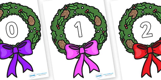 Numbers 0-50 on Christmas Wreaths - 0-50, foundation stage numeracy, Number recognition, Number flashcards, counting, number frieze, Display numbers, number posters