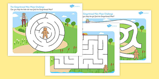 The Gingerbread Man Differentiated Maze Activity Sheet Pack - maze, worksheet