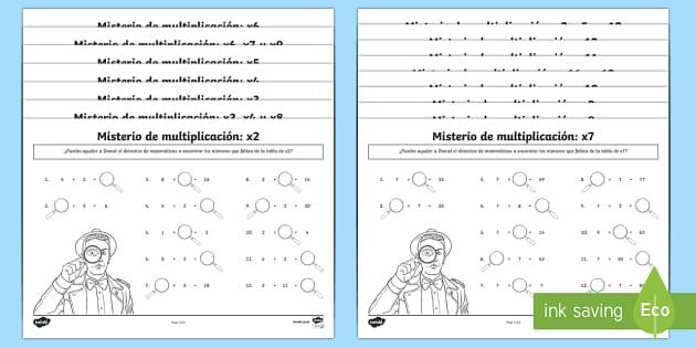 Las tablas de multiplicar Ficha de buscar números