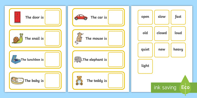 Fill In The Adjective Basic Concept Sentences Matching Activity (Set Two) - adjective