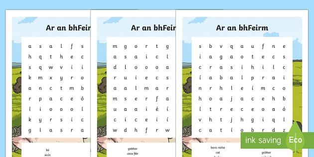 Ar an bhFeirm Differentiated Word Search Gaeilge