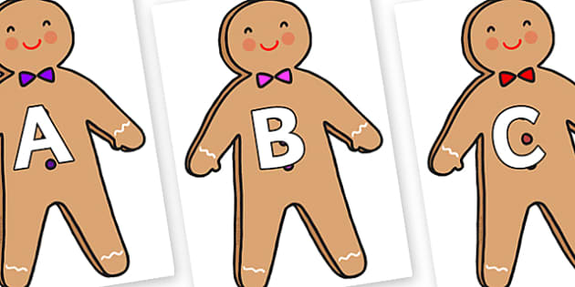 A-Z Alphabet on Gingerbread Man - A-Z, A4, display, Alphabet frieze, Display letters, Letter posters, A-Z letters, Alphabet flashcards