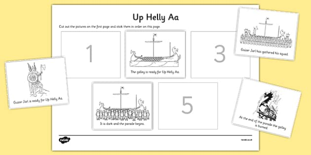 Up Helly Aa Sequencing Sheets - CfE, Vikings, Scotland, Shetland, fire festival, longship
