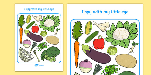 Vegetable Themed I Spy With My Little Eye Activity Sheet - i spy with my little eye, i spy, activity, vegetable, worksheet