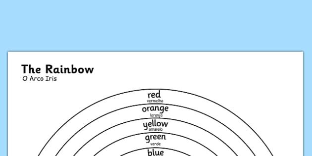 O Arco Iris Colours Colouring Sheet Portuguese Translation - portuguese, rainbow, colours, sheet