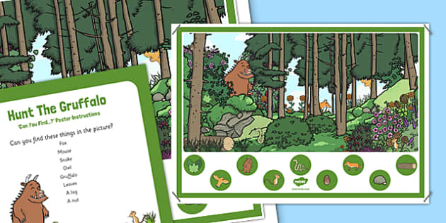 Hunt The Gruffalo Can You Find...? Poster and Prompt Card to Support Teaching on The Gruffalo - EYFS, Story