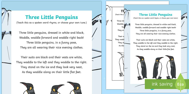 Three Little Penguins Rhyme - Antarctic, Polar, Penguin, rhyme, song, lyrics