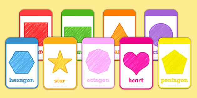 2D Shape Flashcards - 2d shape, 2d, shape, flashcards, flash cards, activities