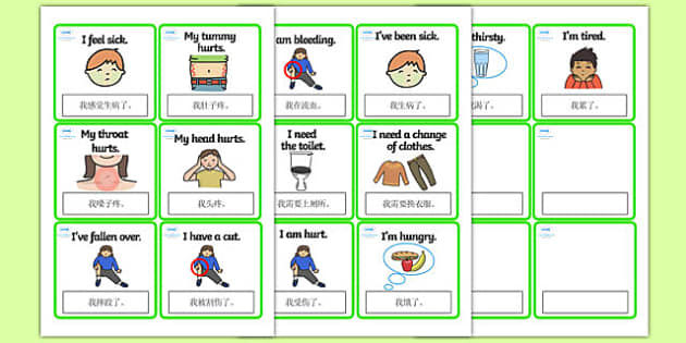 EAL Emergencies Editable Cards with English Mandarin Chinese Translation - mandarin chinese, EAL, emergencies, editable, cards, editable cards, EAL cards, english, themed cards, cards with english