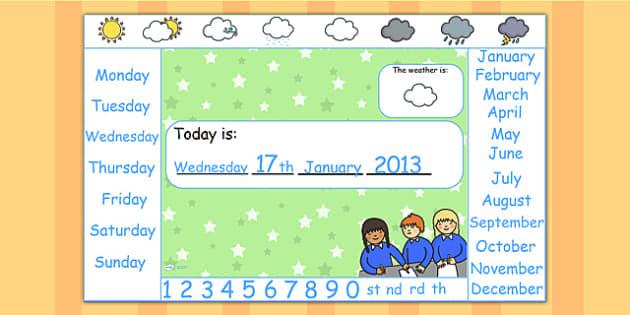 Calendar for Flipchart - calendar, flipchart, IWB, dates, month