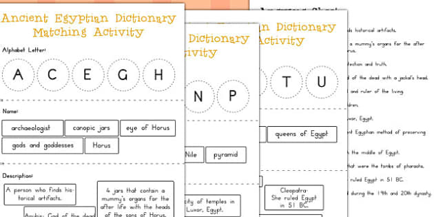 Ancient Egypt Dictionary Matching Activity - australia, egypt