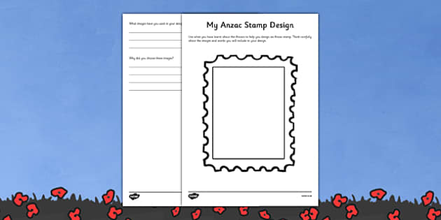 Anzac Stamp Design Worksheet - australia, Australian Curriculum, 3-4, Events, ANZAC Day AND Australian Curriculum,  5-6, Events, ANZAC Day