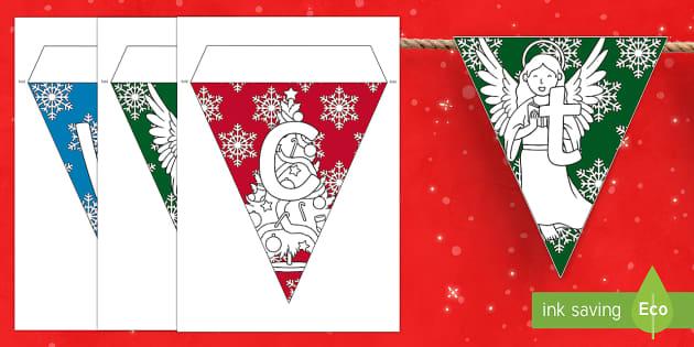Crăciun fericit! - stegulețe - Crăciun, craciun, decor de craciun, română, romana, materiale, stegulețe, Romanian