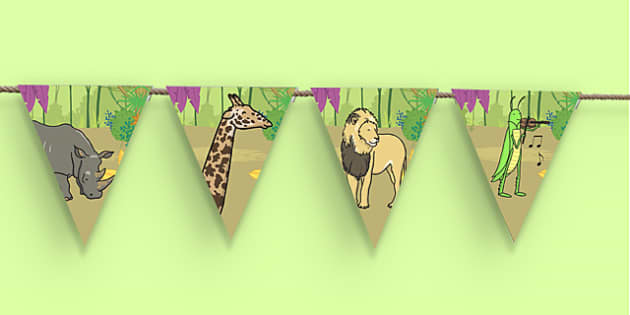 Dancing Giraffe Themed Bunting - Giraffes Can't Dance, bunting, display, jungle, animals