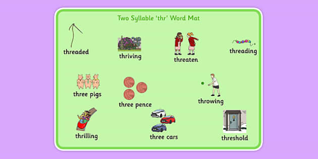 Two Syllable THR Word Mat - speech sounds, phonology, articulation, speech therapy, cluster reduction