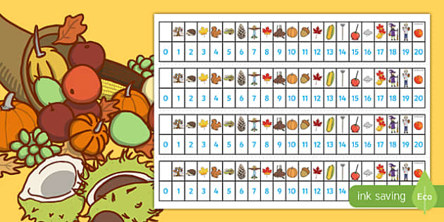 Autumn Number Track (1-20) - Autumn, Maths, Math, number track, numbertrack, Counting, Numberline, Number line, Counting on, Counting back, Autumn, seasons, autumn pictures, autumn display, leaves, acorn, conker