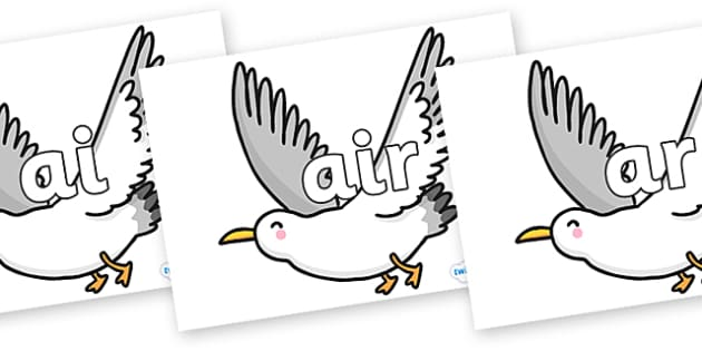Phase 3 Phonemes on Seagulls - Phonemes, phoneme, Phase 3, Phase three, Foundation, Literacy, Letters and Sounds, DfES, display