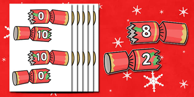 Christmas Number Bonds to 10 on Crackers - christmas,  number bonds, number bonds to ten, numbers, numeracy, number activities, number game, addition, adding