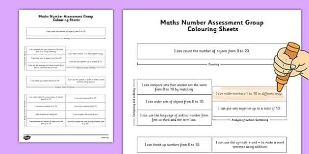 1999 Curriculum Senior Infants Maths Number Assessment Group Colouring Sheet - roi, irish, gaeilge, assessment checklist, maths, senior infants, number