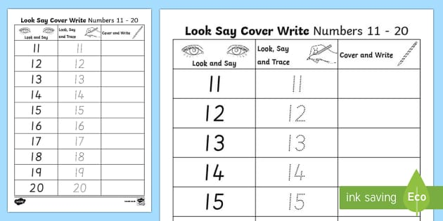 Number Formation 11 to 20 Look, Trace and Write Activity Sheet