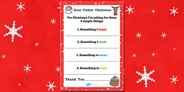 Letter to Father Christmas Four Simple Things - letter, father christmas, simple, things