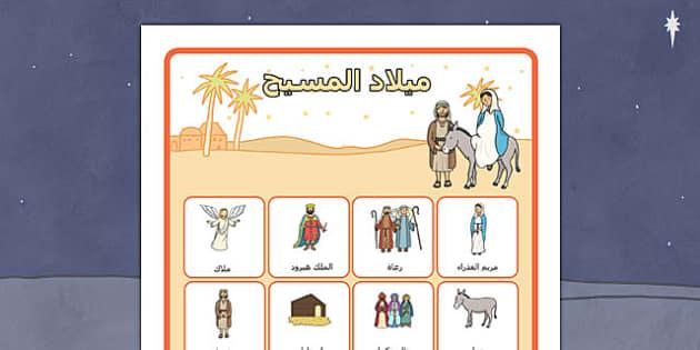 ملصق مفردات ميلاد المسيح - الميلاد، وسائل تعليمية، المسيح