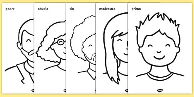 My Family Colouring Sheets Spanish-Spanish