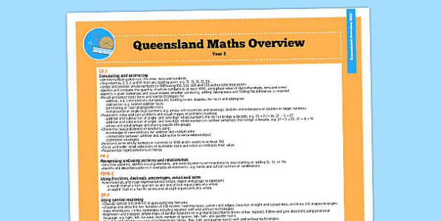 Queensland Curriculum Year 2 Maths Numeracy Syllabus Overview - australia