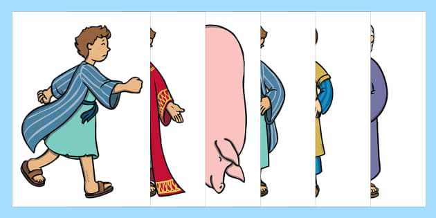 The Prodigal Son Story Cut Outs - usa, america, The Prodigal Son, son, father, prodigal, the lost son, lost, cut outs, cutting, cut, coming back, father and son, jealous, pigs, inheritance, return, party, feast