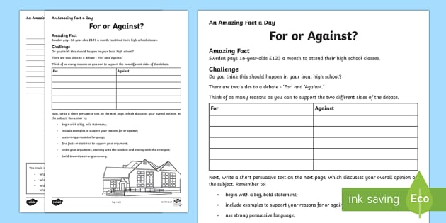 For or Against? Activity Sheet - Amazing Fact Of The Day, activity sheets, powerpoint, starter, morning activity, December,  debate,
