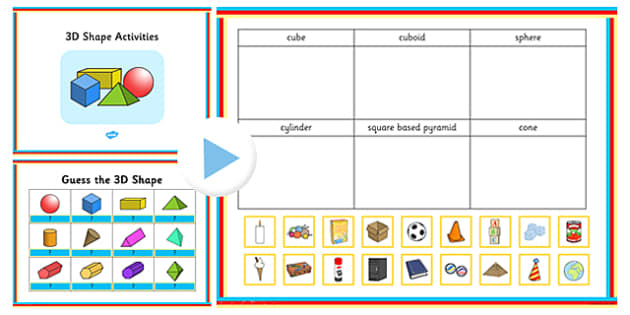 3D Shapes PowerPoint Activity pack - activities, powerpoints
