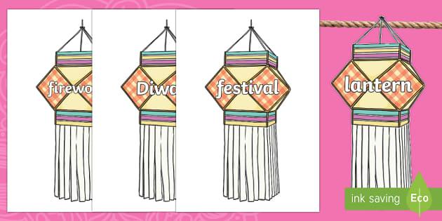Diwali Topic Words on Lanterns Display Bunting