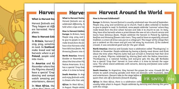 Harvest Around the World Differentiated Fact File