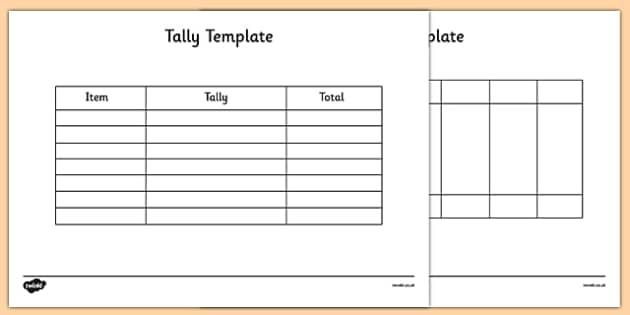 Tally Template - tally, template, tally chart, graph, maths, numeracy