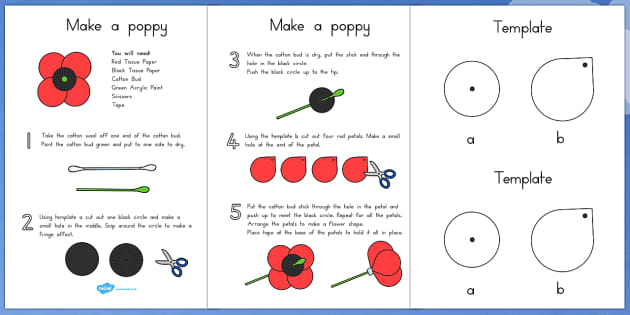 Make Your Own Poppy Instructions (Australia) - Poppies, create