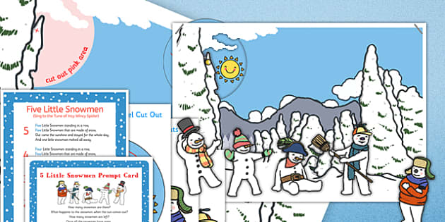 5 Little Snowmen Interactive Poster and Resource Pack - 5 little snowmen, interactive, poster, display