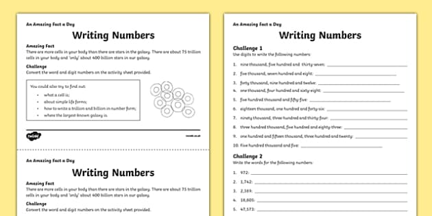 Writing Numbers Activity Sheet - amazing fact a day, activity sheet, activity, activities, writing numbers, worksheet