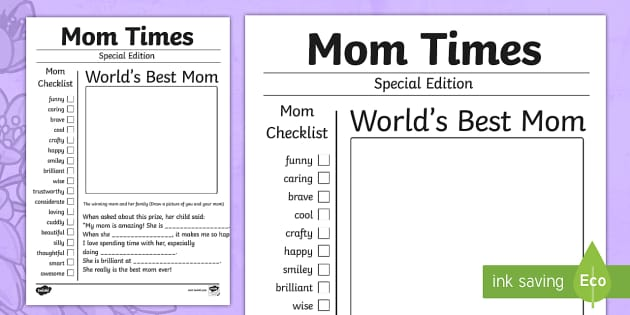 Mother's Day Newspaper Card Template - usa, mothers day, template