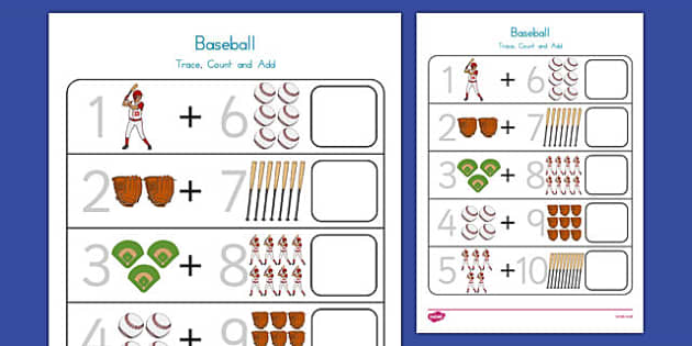 Baseball Themed Trace, Count and Add Worksheet - usa, baseball, mlb, major league baseball, trace, count, add